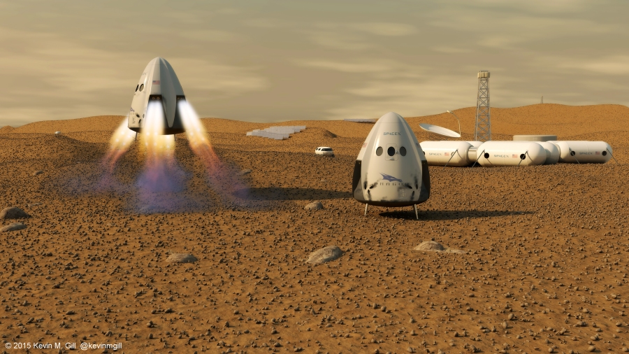 artists-rendition-of-the-spacex-dragon-capsule-on-mars